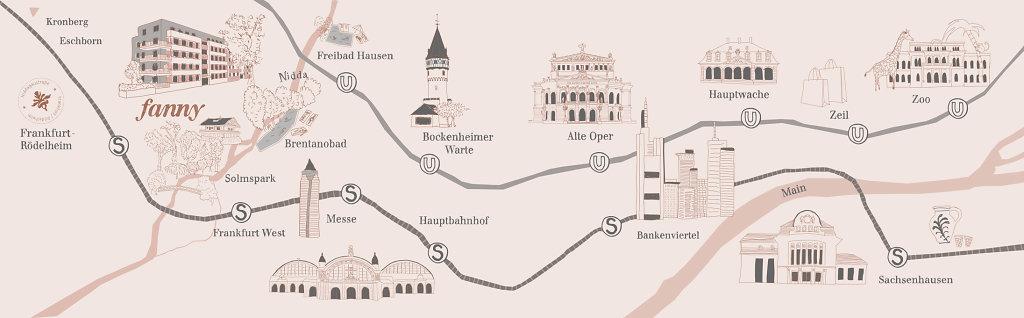 Illustrierter Stadtplan von Frankfurt